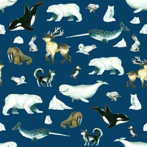 Arctic Pals / Watercolour Arctic Animals on Deep Blue Background