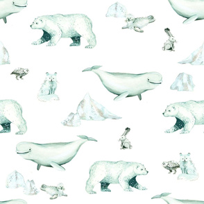 White Arctic Animals and Ice on White Background