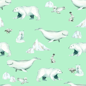 White Arctic Animals and Ice on Mint Background