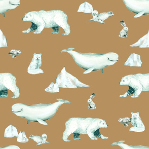 White Arctic Animals and Ice on Light Copper Background