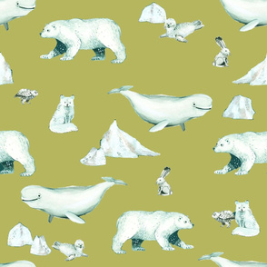 White Arctic Animals and Ice on Golden Tan Background
