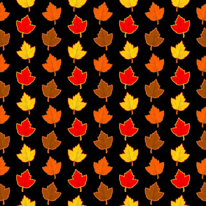 Colorful Autumn Leaves with Retro Color Outlines