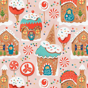 Gingerbread Candy Land Pink