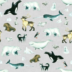 Arctic Pals / Watercolour Arctic Animals on Linen Background - Smaller Size