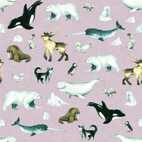 Arctic Pals / Watercolour Arctic Animals on Mauve Linen Background - Smaller Size