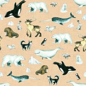 Arctic Pals / Watercolour Arctic Animals on Peach Linen Background - Smaller Size