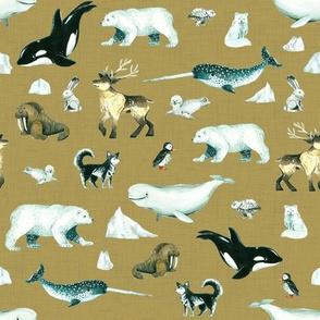Arctic Pals / Watercolour Arctic Animals on Tan Linen Background - Smaller Size