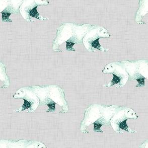 Arctic Pals / Polar Bear Coordinate on Light Linen