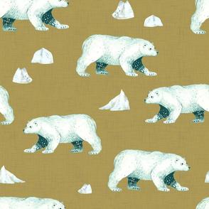 Arctic Pals / Polar Bear Coordinate on Golden Tan Linen