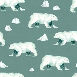 Arctic Pals / Polar Bear Coordinate on Teal Linen
