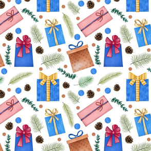Winter Watercolor Christmas Seamless Pattern with Gift Boxes, Tree Branches, Fir Cones