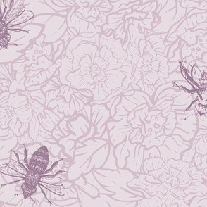 Honey Bees with Roses in Pink seamless pattern background.