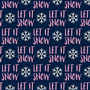 (small scale) Let it Snow - pink on blue - Christmas Winter Holiday - LAD19BS