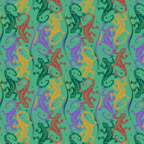 Lizards on turquoise green