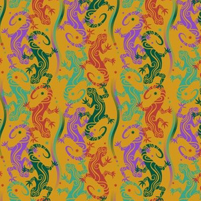 Lizards on yellow ochre