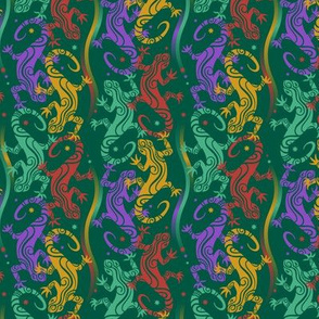 Lizards on dark green