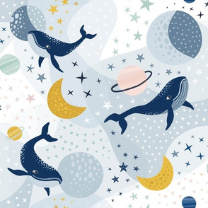 Whimsical space whales
