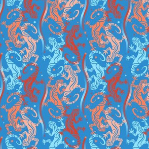 Lizards on cobalt blue