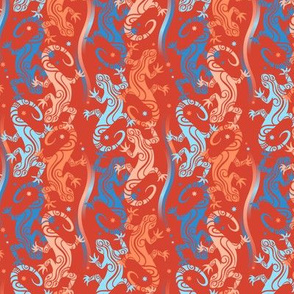 Lizards on  indian red