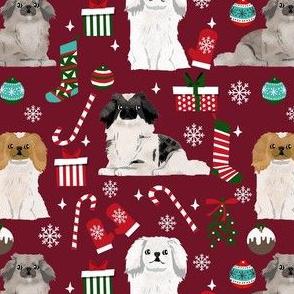 pekingese dog christmas fabric - christmas fabric, dog fabric, peke, - ruby