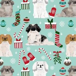 pekingese dog christmas fabric - christmas fabric, dog fabric, peke, - light
