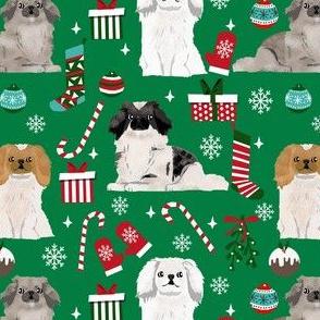 pekingese dog christmas fabric - christmas fabric, dog fabric, peke, - green