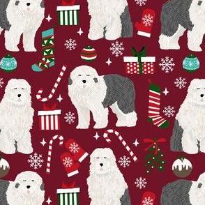 old english sheepdog christmas fabric - dog fabric, dogs fabric, holiday dog fabric, christmas dog fabric -  ruby