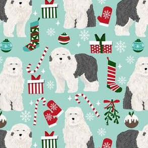 old english sheepdog christmas fabric - dog fabric, dogs fabric, holiday dog fabric, christmas dog fabric -  light blue