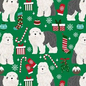 old english sheepdog christmas fabric - dog fabric, dogs fabric, holiday dog fabric, christmas dog fabric - green