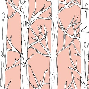 Behind the trees little forest abstract tree and branches design white peach JUMBO