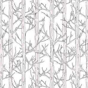 Behind the trees little forest abstract tree and branches design neutral beige white nursery