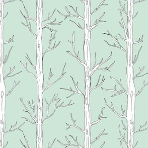 Behind the trees little forest abstract tree and branches design mint white