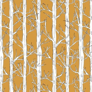 Behind the trees little forest abstract tree and branches design white yellow ochre