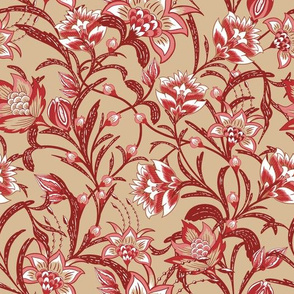 Chintz Red floral gold
