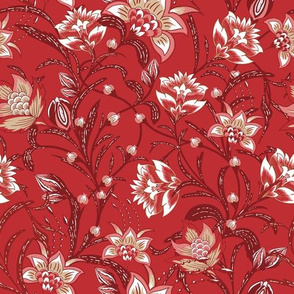 Chintz Red flora by Jac Slade