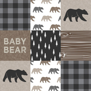 Baby bear patchwork - woodland wholecloth - brown/grey plaid- LAD19