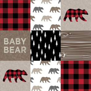 Baby bear patchwork - woodland wholecloth - brown/red and black  plaid - LAD19