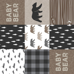 Baby bear patchwork - woodland wholecloth - brown/grey plaid - (90) LAD19