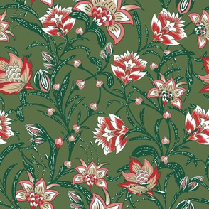 Chintz Christmas green floral