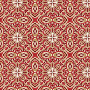 Chintz Red Gold tile