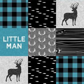 little man - light teal and black (buck) quilt woodland - teal little man -  C18BS