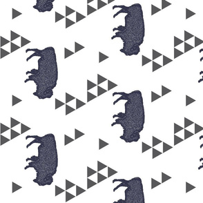 Geometric Buffalo in Navy rotated 90 degrees