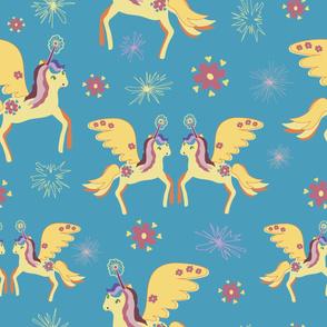 cute colorful magic unicorns