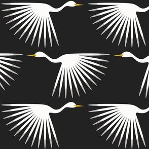 "Art Deco Cranes - Custom - Almost Black and Almost White - 12 / 10"" wallpaper"