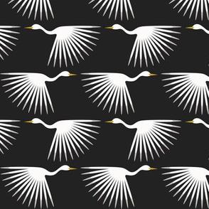 "Art Deco Cranes - Custom - Almost Black and Almost White - 3"" Wallpaper"