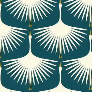 Art Deco Swans - Deep Teal