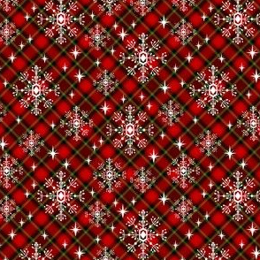 SMALL - snowflake plaid  fabric - green and red plaid, green and red tartan, holiday fabric, christmas winter fabric