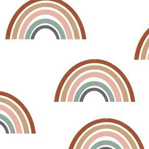 LARGE - rainbow fabric - earth tone fabric, earth palette fabric, trendy earth tones fabric, rainbows fabric, rainbow fabric - girls - white