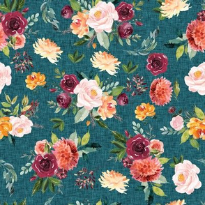teal linen paprika floral - small scale