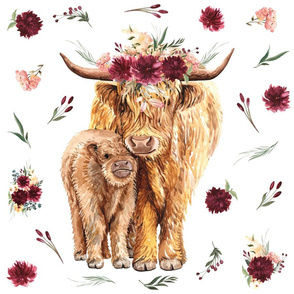 highland cow patch - 18x18""
